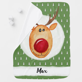 Cute Baby Boy's First Christmas Rudolph with Name Baby Blanket