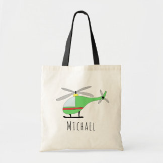 Cute Baby Boy's Helicopter Aircraft and Name Tote Bag