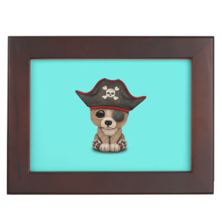 Cute Baby Brown Bear Cub Pirate Keepsake Box