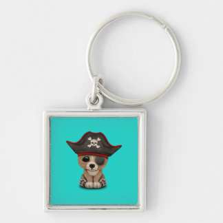 Cute Baby Brown Bear Cub Pirate Key Ring