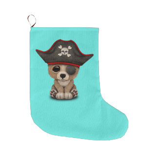Cute Baby Brown Bear Cub Pirate Large Christmas Stocking