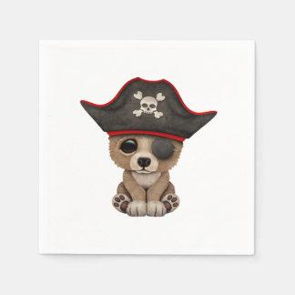Cute Baby Brown Bear Cub Pirate Paper Serviettes