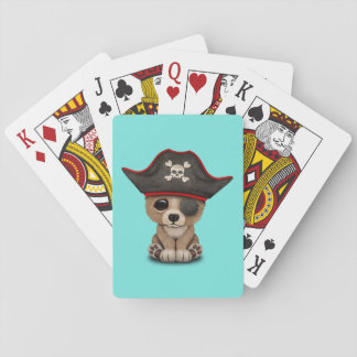 Cute Baby Brown Bear Cub Pirate Playing Cards