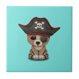 Cute Baby Brown Bear Cub Pirate Small Square Tile