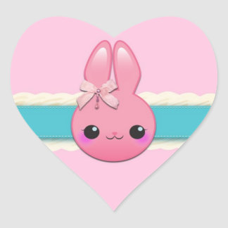 Cute Baby Bunny Frosting Bow and Ribbon Heart Sticker