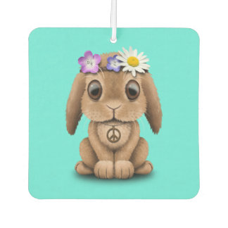 Cute Baby Bunny Hippie Car Air Freshener
