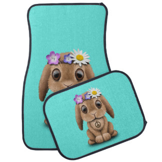 Cute Baby Bunny Hippie Car Mat
