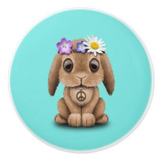 Cute Baby Bunny Hippie Ceramic Knob