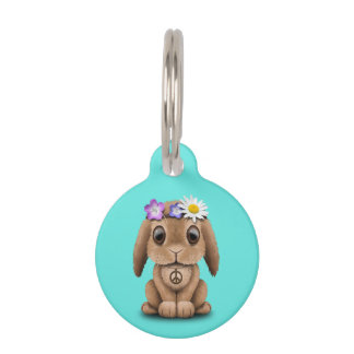 Cute Baby Bunny Hippie Pet Tag