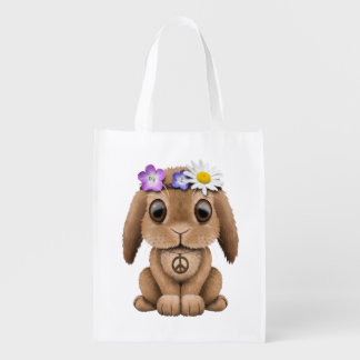 Cute Baby Bunny Hippie Reusable Grocery Bag