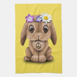 Cute Baby Bunny Hippie Tea Towel
