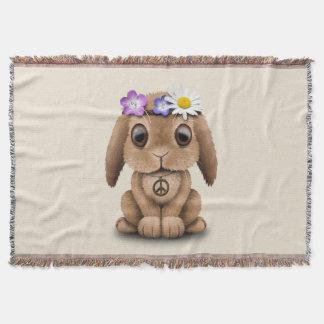 Cute Baby Bunny Hippie Throw Blanket