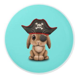 Cute Baby Bunny Pirate Ceramic Knob