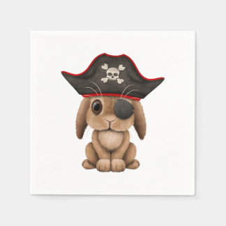 Cute Baby Bunny Pirate Disposable Napkins