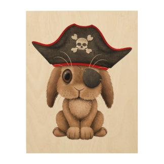 Cute Baby Bunny Pirate Wood Wall Art
