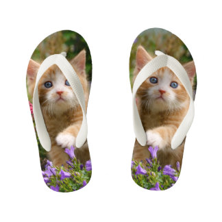 Cute Baby Cat Kitten Pet Playing Animal Photo Head Kid's Thongs