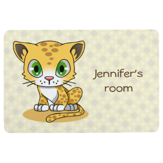 Cute baby cat leopard cartoon kids name floor mat