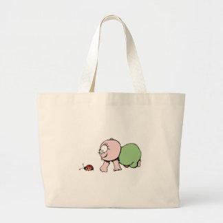 Cute Baby Chasing Ladybug Canvas Bag