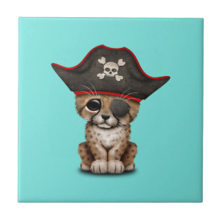 Cute Baby Cheetah Cub Pirate Ceramic Tile