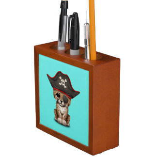Cute Baby Cheetah Cub Pirate Desk Organiser