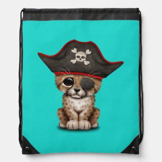 Cute Baby Cheetah Cub Pirate Drawstring Bag