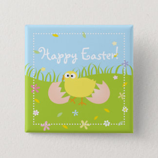 Cute Baby Chick Happy Easter 15 Cm Square Badge