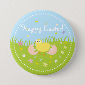 Cute Baby Chick Happy Easter 7.5 Cm Round Badge