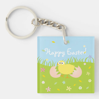Cute Baby Chick Happy Easter Key Ring