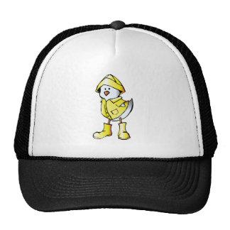 Cute Baby Chick Wearing a Yellow Raincoat Cap