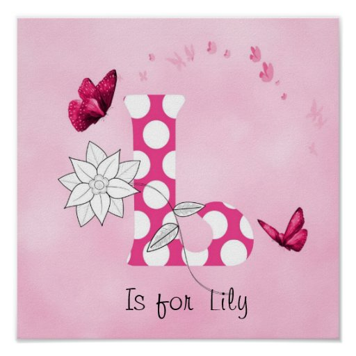 Cute Baby Child Personalised Name L is for Poster