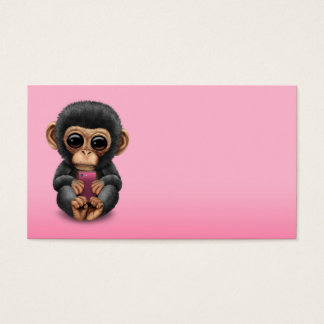 Cute Baby Chimpanzee Holding a Cell Phone Pink