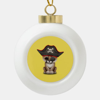 Cute Baby Cougar Cub Pirate Ceramic Ball Christmas Ornament