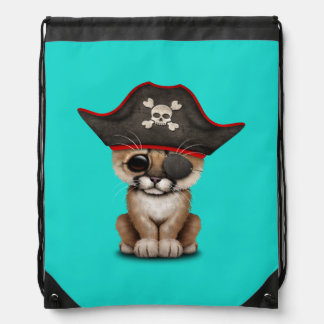Cute Baby Cougar Cub Pirate Drawstring Bag