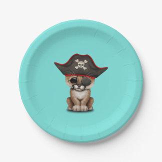 Cute Baby Cougar Cub Pirate Paper Plate