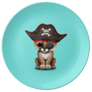 Cute Baby Cougar Cub Pirate Plate