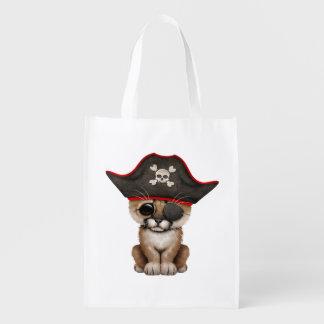 Cute Baby Cougar Cub Pirate Reusable Grocery Bag