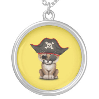 Cute Baby Cougar Cub Pirate Silver Plated Necklace
