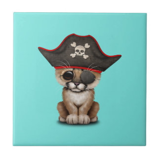 Cute Baby Cougar Cub Pirate Small Square Tile