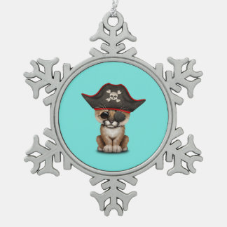 Cute Baby Cougar Cub Pirate Snowflake Pewter Christmas Ornament