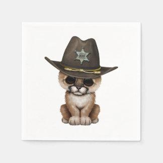 Cute Baby Cougar Cub Sheriff Disposable Serviette