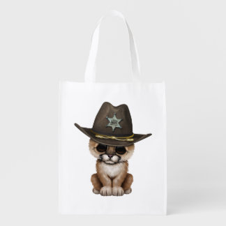 Cute Baby Cougar Cub Sheriff Reusable Grocery Bag
