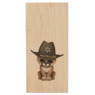 Cute Baby Cougar Cub Sheriff Wood USB Flash Drive