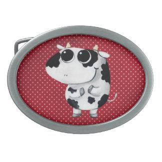 Cute Baby Cow Oval Belt Buckles