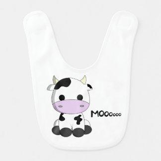 Cute baby cow cartoon baby bib