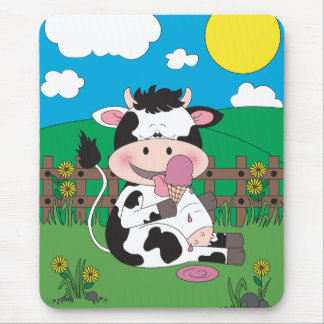 Cute Baby Cow Cartoon Mouse Pad