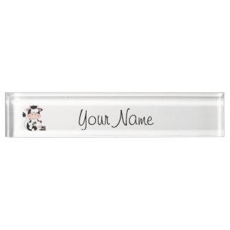 Cute Baby Cow Cartoon Nameplate