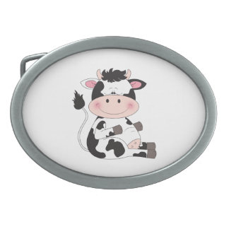 Cute Baby Cow Cartoon Oval Belt Buckles