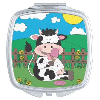 Cute Baby Cow Cartoon Travel Mirror