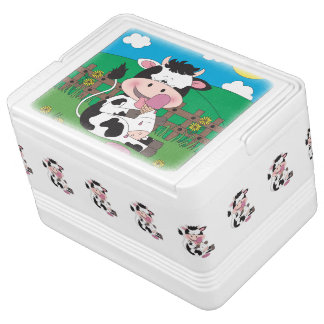 Cute Baby Cow Cartoon With His Favorite Treat Cooler