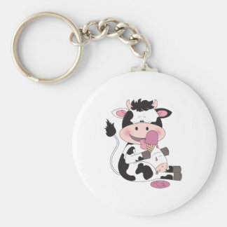 Cute Baby Cow Cartoon With His Favorite Treat Key Ring